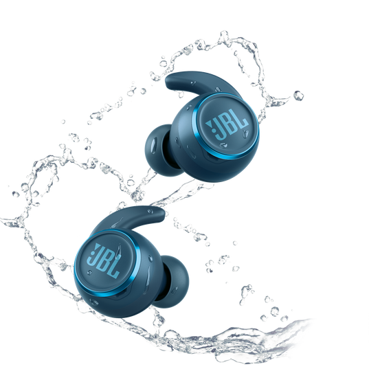JBL Reflect Mini NC - Blue - Waterproof True Wireless In-Ear NC Sport Headphones - Front