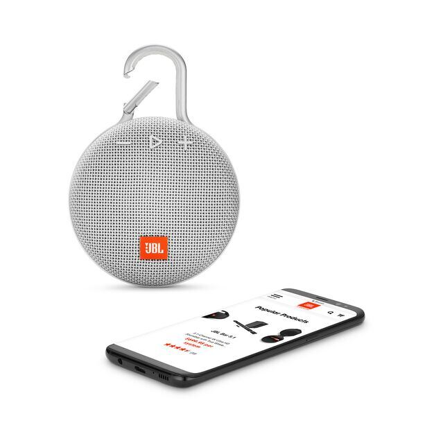 JBL CLIP 3 - Steel White - Portable Bluetooth® speaker - Detailshot 1